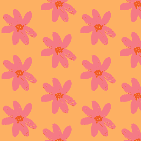 daisy pink sorbet fabric by palmrowprints on Spoonflower - custom fabric