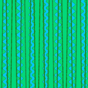 Ric rac in blues and greens