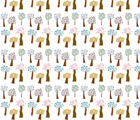 White Whimsical Trees fabric by jennifer_d on Spoonflower - custom fabric