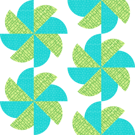 Blue-Green Pinwheel fabric by toothpanda on Spoonflower - custom fabric