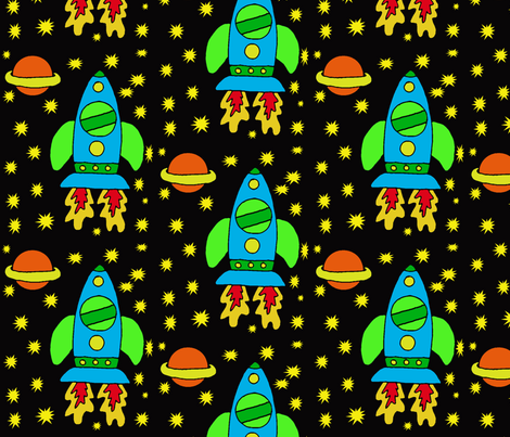 ROCKETSHIP fabric by kali_d on Spoonflower - custom fabric