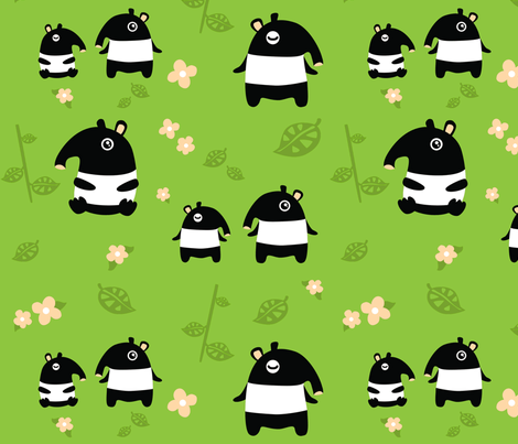 Tapir Babies fabric by kukubee on Spoonflower - custom fabric