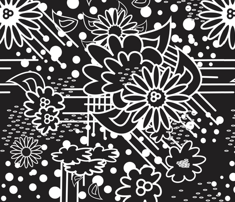 FloralPow Noir fabric by dolphinandcondor on Spoonflower - custom fabric