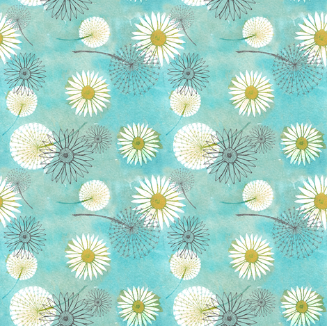 Dandelions and daisies fabric by sary on Spoonflower - custom fabric