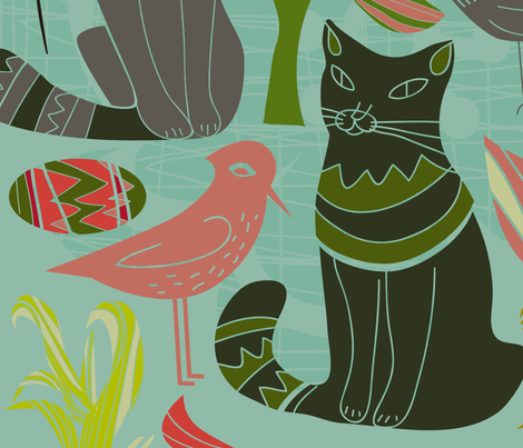 Retro Cats Birds And Flowers fabric by artonwear on Spoonflower - custom fabric