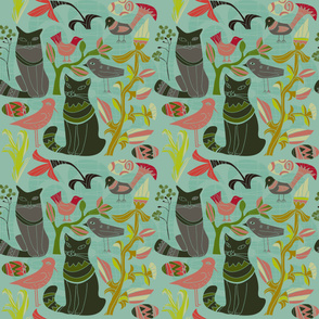 Retro Cats Birds And Flowers