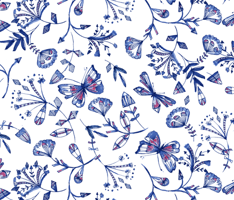 inky butterflies in blue fabric by bethan_janine on Spoonflower - custom fabric