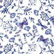 inky butterflies in blue