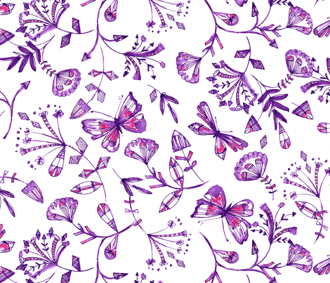 inky butterflies in pinks & purples fabric by bethan_janine on Spoonflower - custom fabric