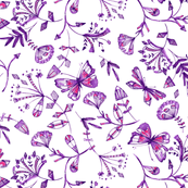 inky butterflies in pinks & purples