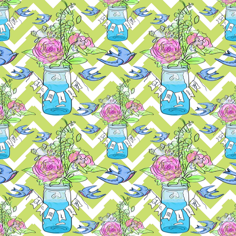 Buntings with Ball Jar fabric by shannonkornis on Spoonflower - custom fabric
