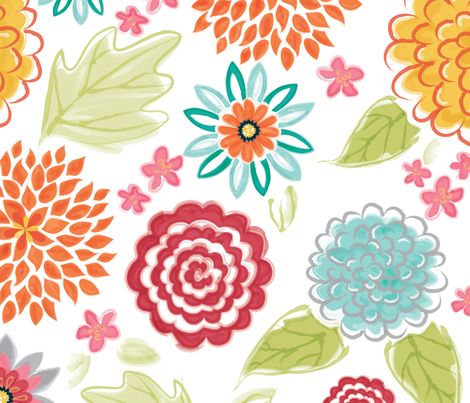 BloomsBurst_Watercolor fabric by leonajaeger on Spoonflower - custom fabric