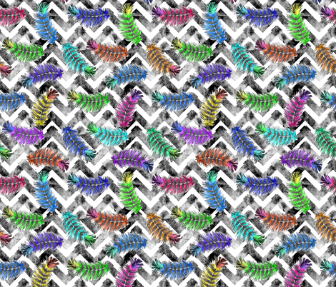 Bright Feathers with modified Chevron bkgrnd fabric by shannonkornis on Spoonflower - custom fabric