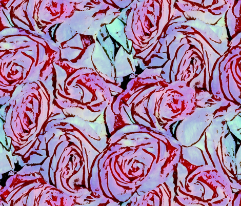 Awash In A Sea Of Roses ~ Pen & Ink Watercolor  fabric by peacoquettedesigns on Spoonflower - custom fabric