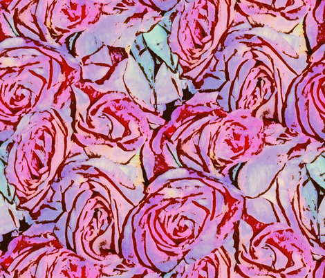 Awash With Roses ~ Pen & Ink Watercolor  fabric by peacoquettedesigns on Spoonflower - custom fabric