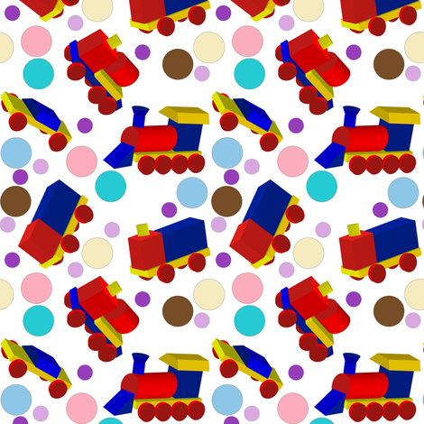 Block Trucks and Polka Dots fabric by carmenscottagecreations on Spoonflower - custom fabric