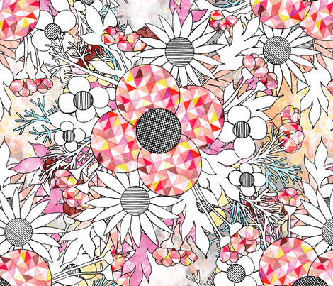 mod_floral_coral fabric by nat_olly on Spoonflower - custom fabric