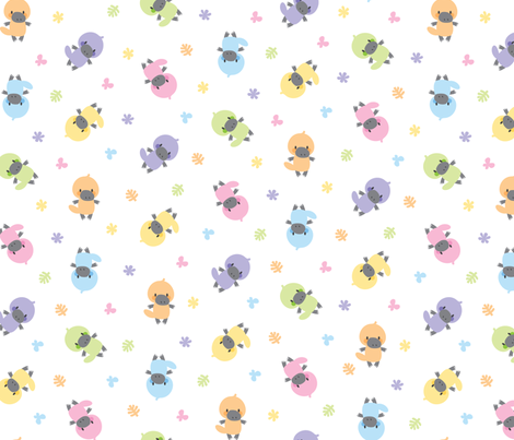 Cute pastel platypuses fabric by petitspixels on Spoonflower - custom fabric