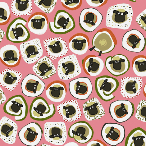 sheep sushi pink fabric by scrummy on Spoonflower - custom fabric