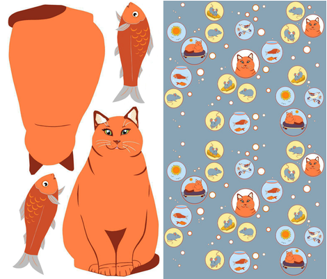 Cat pet small  fabric by alfabesi on Spoonflower - custom fabric