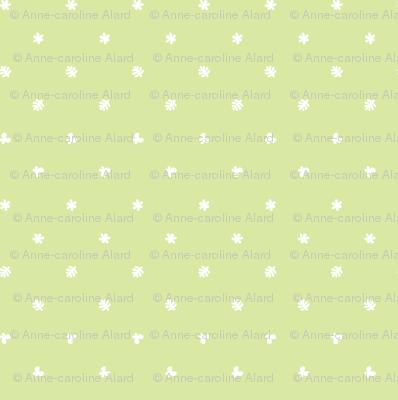 Polka leaves flowers and butterflies Green