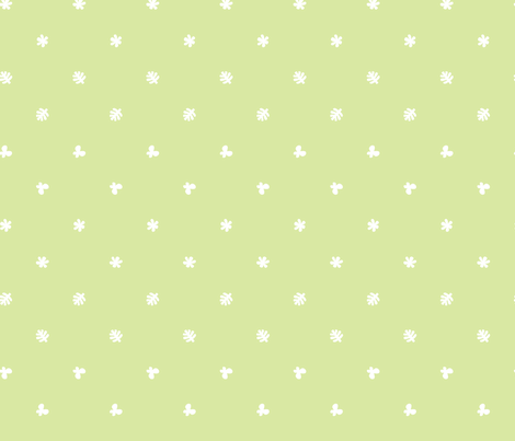 Polka leaves flowers and butterflies Green fabric by petitspixels on Spoonflower - custom fabric