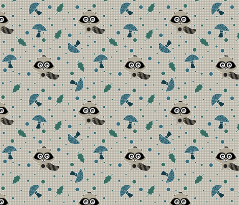 Woodsy_Racoons fabric by jpdesigns on Spoonflower - custom fabric