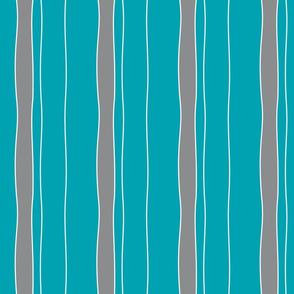 Turquoise & Grey Stripe