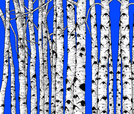 BAUER - Aspens Against Blue Sky fabric by scatteredseeds on Spoonflower - custom fabric