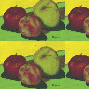 apples on bright green