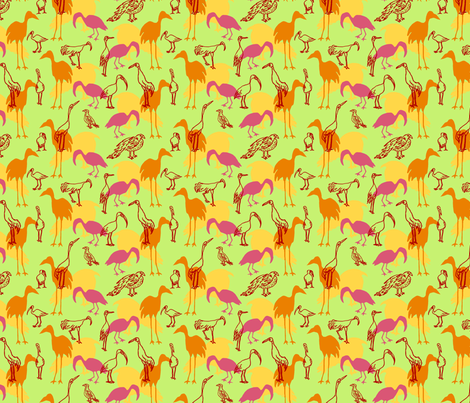 Feathered Flocks - Gaggle fabric by nanu_illustration on Spoonflower - custom fabric