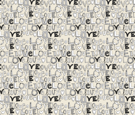 l o v e LOVE ivory white fabric by scrummy on Spoonflower - custom fabric