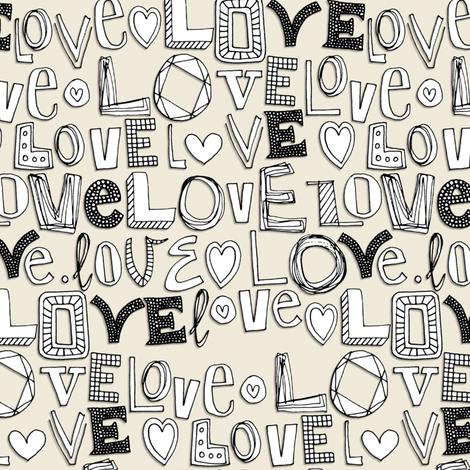 l o v e LOVE ivory white fabric by scrummy on Spoonflower - custom fabric