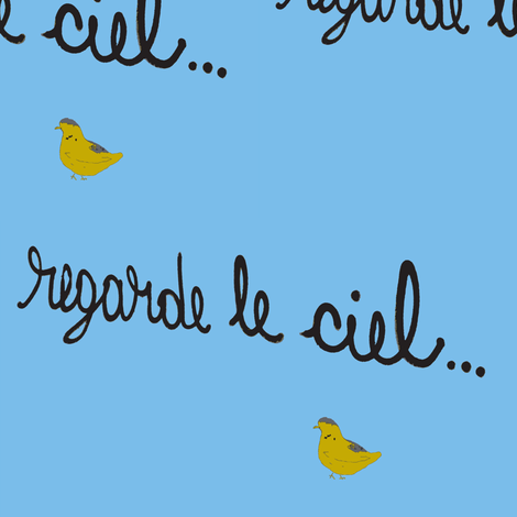 Regarde le Ciel with Yellow Bird fabric by susaninparis on Spoonflower - custom fabric