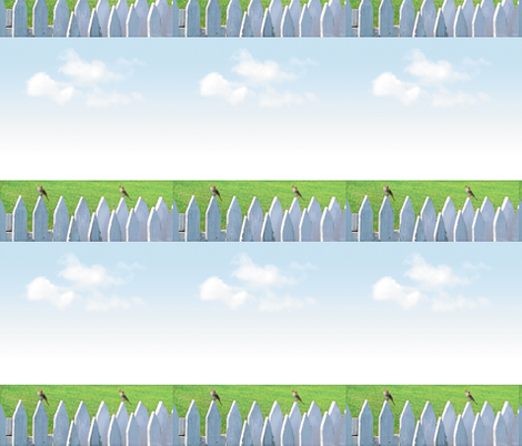 White Picket Fence With Sparrows, L fabric by animotaxis on Spoonflower - custom fabric