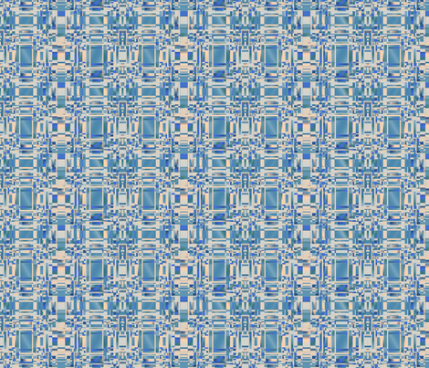 Aqua and Beige Complicated Geometric © Gingezel™ 2012 fabric by gingezel on Spoonflower - custom fabric