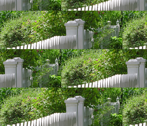 White Picket Fence Posts, L fabric by animotaxis on Spoonflower - custom fabric