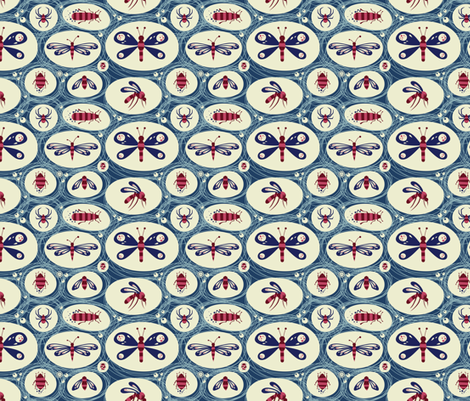 Insects in a Blue blink fabric by verycherry on Spoonflower - custom fabric