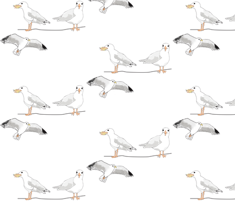 Bridlington - Seagulls fabric by pennydog on Spoonflower - custom fabric