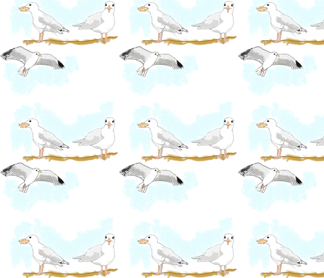 Bridlington - Seagulls (blue) fabric by pennydog on Spoonflower - custom fabric