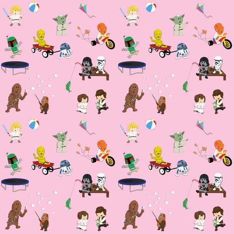 Star Wars Kids - Pink fabric by nixongraphix on Spoonflower - custom fabric