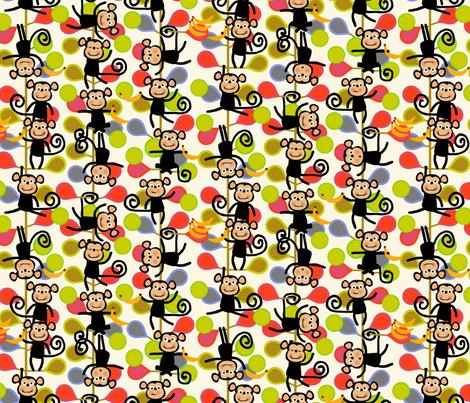 felt monkeys fabric by scrummy on Spoonflower - custom fabric