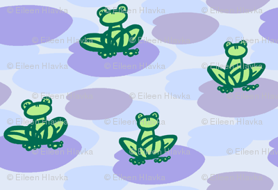 Frogs on Lilypads - Purple