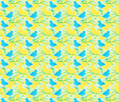 blue bird blossom ©Jill Bull 2012 fabric by fabricfarmer_by_jill_bull on Spoonflower - custom fabric