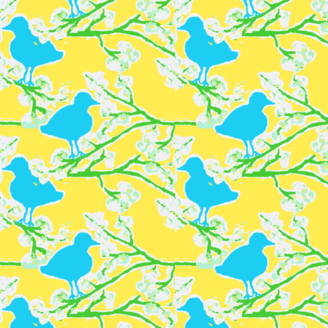 blue bird blossom ©Jill Bull 2012-ch fabric by fabricfarmer_by_jill_bull on Spoonflower - custom fabric