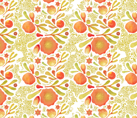 Granada Floral Ink_yellow ochre fabric by bee&lotus on Spoonflower - custom fabric