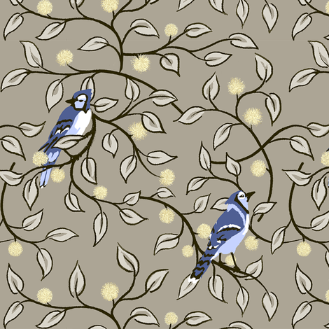 leafy stems buds & birds alt fabric by thatswho on Spoonflower - custom fabric