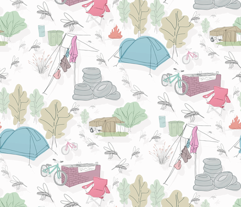 camping toile fabric by pennym on Spoonflower - custom fabric
