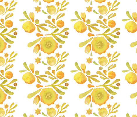 Granada Floral_yellow ochre fabric by bee&lotus on Spoonflower - custom fabric