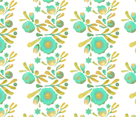 Granada Floral_aqua fabric by bee&lotus on Spoonflower - custom fabric